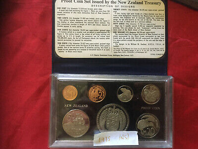 NEW ZEALAND 1975 PROOF COIN SET in CASE & FOLDER