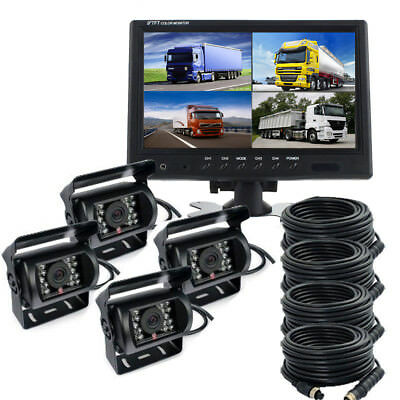 9'' Quad Split Monitor Back-Up 4X CCD Rear View Night Vision Camera For Truck RV