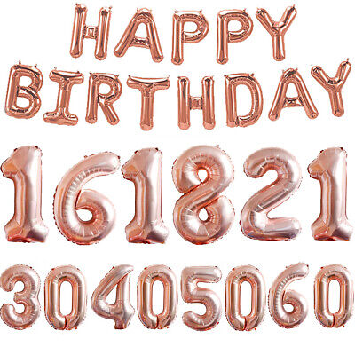 21st 16/18/30/40/50/60th Rose Gold Happy Birthday Bunting Banners Foil Balloons