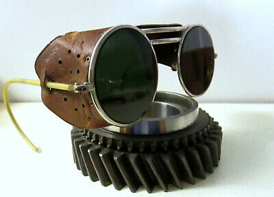 Antique Willson Sunglasses Leather Goggles Spectacles Retro Vintage Halloween