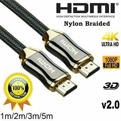 4K Ultra HD Premium HDMI Cable V2.0 3D High Speed 30AWG Braided 1m 2m 3m 5m