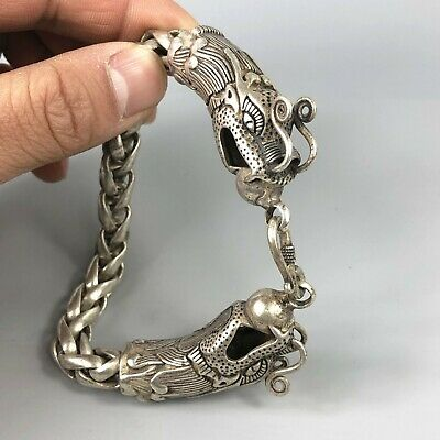 Exquisite Chinese Rare MIAO Silver Handwork Dragon Amulet Bracelet