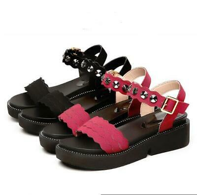 New Women Summer Casual Platform Buckle Sandals  Wedge Thick Sole Open Toe Shoes