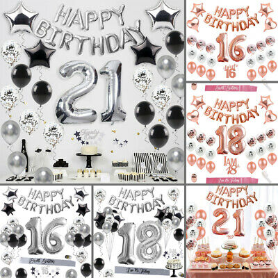 Happy Birthday 16th/18th/21st Banner Foil Balloons Set Party Decoration Supply