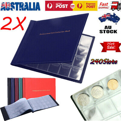 2pcs 240 Coins Slots Penny Coin Stamp Collecting Album Book Organizer Container