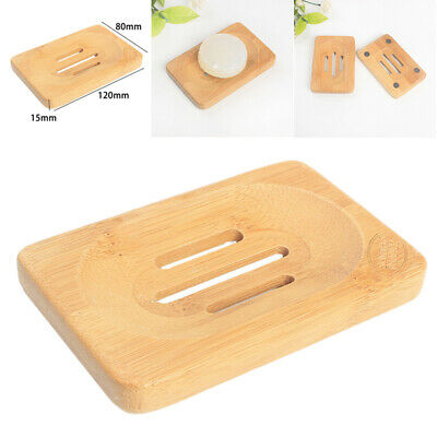 Bamboo Bath Shower Square Soap Tray Dish Storage Holder Stand Plate Bathroom