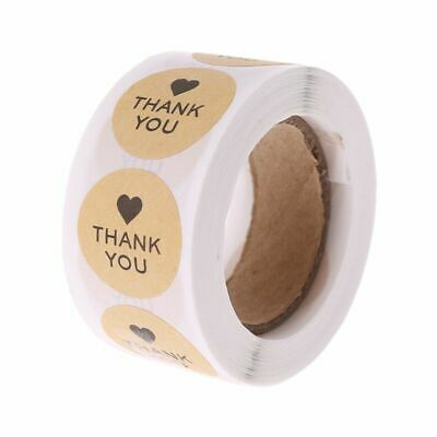 "500Pcs 1"" Thank you Sticker Kraft Adhesive Labels Decor Wedding Sealing Gifts"