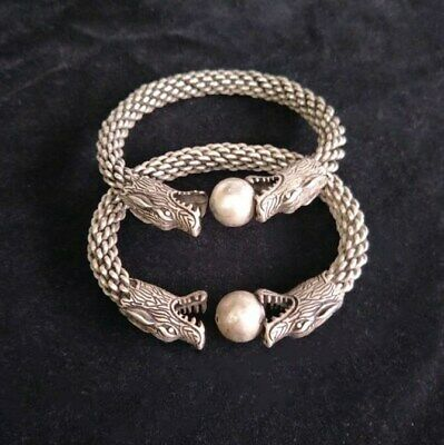1 pair (Two) Old style China Miao silver skein Dragon Head bangle cuff bracelet