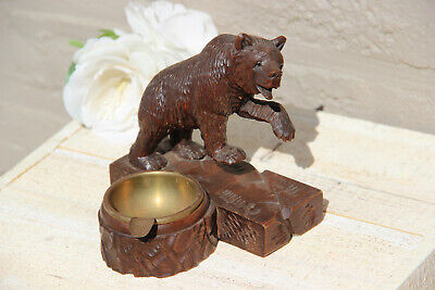 Antique hand Black forest wood carved swiss bear statue figurine  ashtray