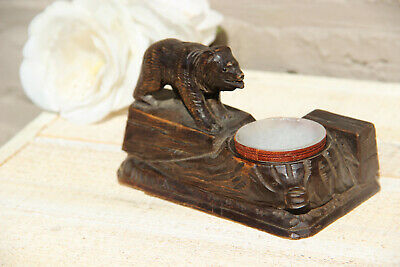 Antique hand Black forest wood carved swiss bear statue figurine  ashtray BRIENZ