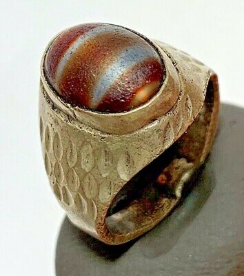 ANCIENT ROMAN SILVER RING WITH VERY VERY RARE STONE 7.2gr 30mm (inner 19.3mm)
