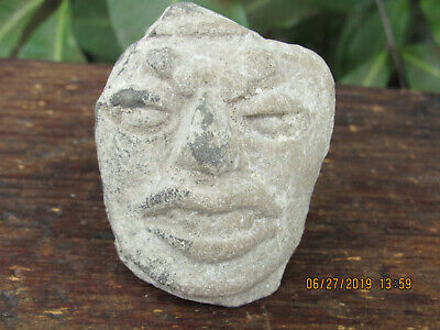 Authentic Pre-columbian Mayan Figural Human Head Artifact