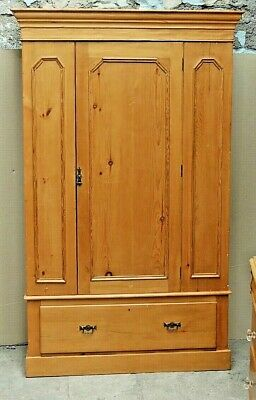 "SUPERB ANTIQUE VICTORIAN  RUSTIC SOLID PINE WARDROBE WITH DRAWER 48"" wide"