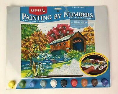 """Reeves Paint By Number Kit PL/49 Covered Bridge 16""""x13"""" - New - Open Box"""