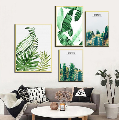 Tropical Plant Leaf Art Poster Unframed Canvas Painting Office Living Room Decor
