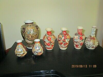 Collection of Seven Antique Vintage Japanese Satsuma Vases