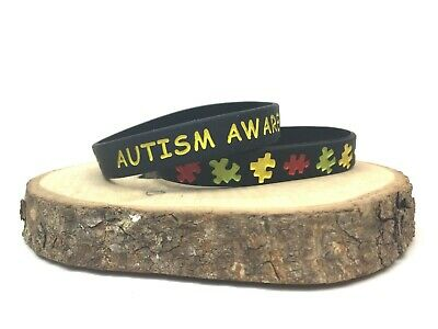 Autism Awareness Wristband Black Silicone Band Bracelet Men Womens Autistic ASD