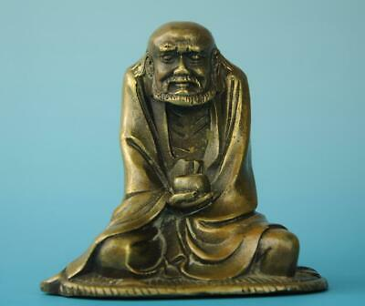 Chinese old copper hand carved Bodhidharma  Buddha statue d01