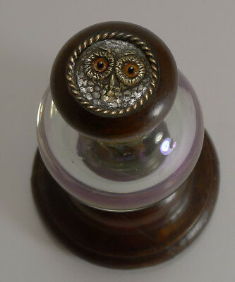 Handsome Antique Iridescent Glass and Mahogany Inkwell - Owl With Glass Eyes