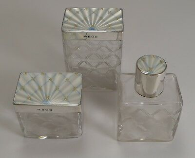 Vintage English Sterling Silver and Guilloche Enamel Lidded Dressing Table Set