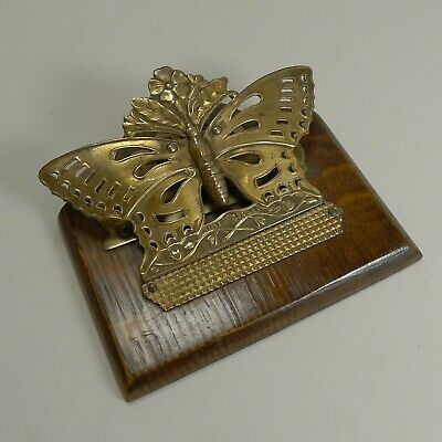 Antique English Brass and Oak Butterfly Letter Clip - 1889