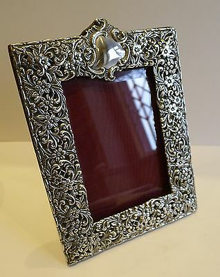 Stunning Large Antique English Sterling Silver Photograph Frame