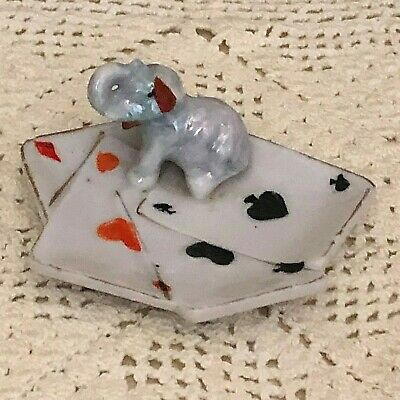 Lusterware Trunk Up Elephant Playing Cards Good Luck Trinket Ring Dish Japan