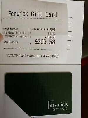 Fenwicks Gift Card Value £303.58