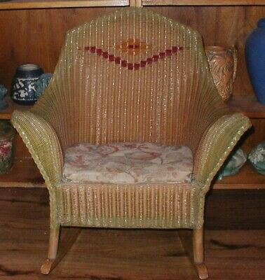 """Antique Basket Weave Wicker Child's Rocking Chair Carriage Toy Co. Baltimore 26"""""""