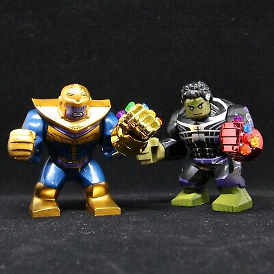New 2pcs Big Thanos Hulk with IRON MAN infinity gauntlet fit Lego Minifigure