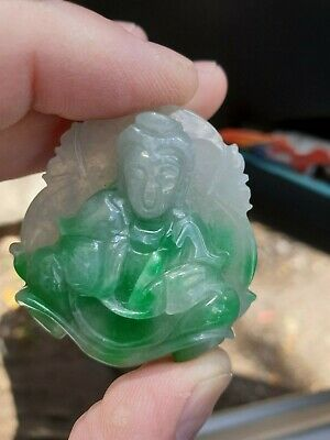 Vintage Natural White & Emerald Green Carved Jade Jadeite Buddha Pendant Amulet