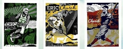 Eric Church TD Garden Poster Set Double Down Tour 2019 Nate Duval