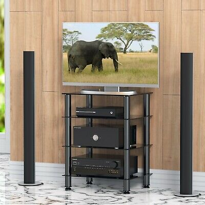 FITUEYES 4 Tier Glass Hifi Stand Rack Media Cabinet with Storage Shelves