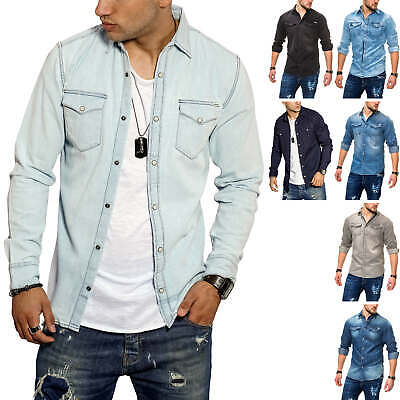 Jack & Jones Men's Jeans Shirt Casual Denim Long Sleeve