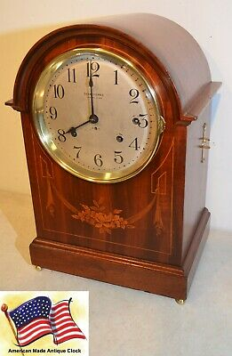 RARE SETH THOMAS RESTORED 1st ISSUE 8 DEEP TONED BELL SONORA ANTIQUE CLOCK 1910
