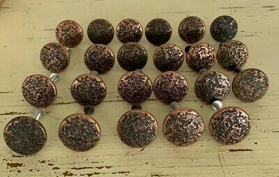 Cabinet Knobs drawer Pull Round Cast iron copper color hammered vtg 22 Pc Lot