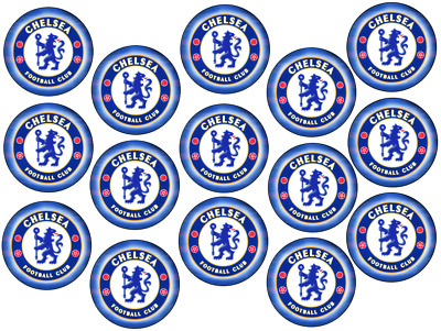 """Chelsea Fc Birthday Edible Icing/Wafer Card Pre-Cut Cupcake Toppers 15 X 2"""""""