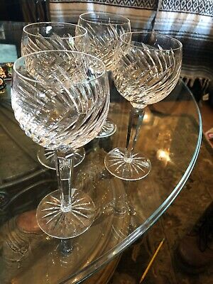 "Waterford Crystal Michele 7-1/2"" Hock Wine Glass - Set of 4- Gorgeous L@@K"