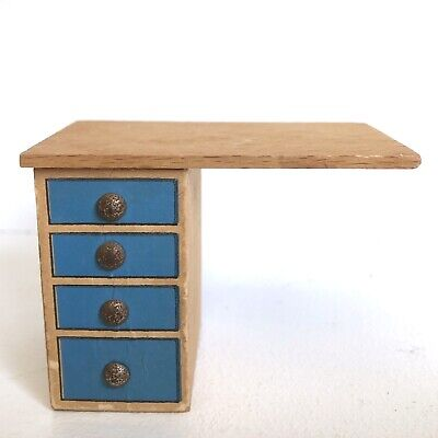 "Dollhouse Desk 3"" Wood Furniture Vintage Mid Century Sewing Table"