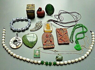 Vintage Chinese Asian 14 PC Collection Jewelry PEARLS JADE Mother Of Pearl Glass