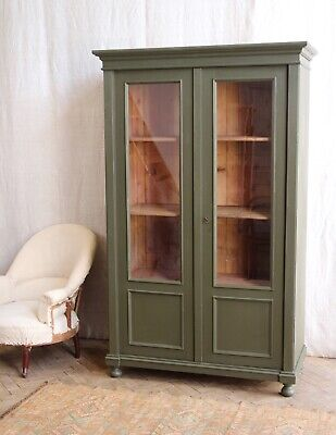 Vintage Antique Green Painted Larder Linen Press Glass Cupboard Armoire Cabinet