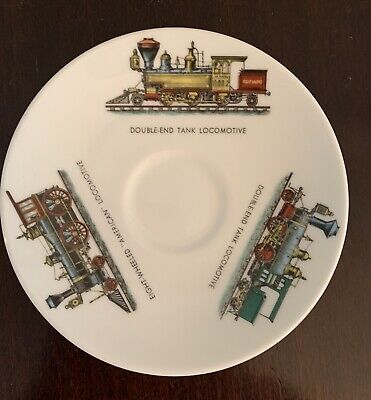 """Crown Staffordshire Fine China Queensberry LOCOMOTIVE TRAIN teacup Saucer 5"""""""