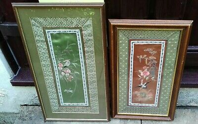 Silk Embroidered Pictures Oriental Birds Stunning in frames 2 Picture bundle ☆