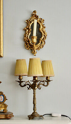 A Smart Triple Branch Brass Candelabra Country House Lamp, Lemon Fabric Shade
