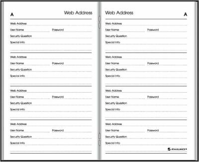 AT-A-GLANCE Website Address Book-Password Keeper - Monthly Planners