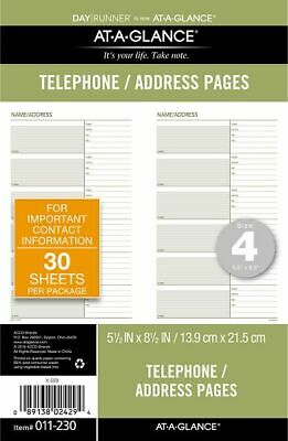 AT-A-GLANCE Telephone-Address Planner Pages Size 4 - Telephone-Address Pages &