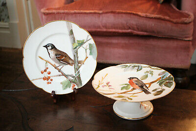 Beautiful Antique Hand Painted, Cake Tazza & Matching Plate, Bird Design