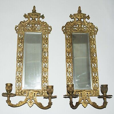 Antique Victorian Fish Motif Brass Candle Sconce Mirror Pair