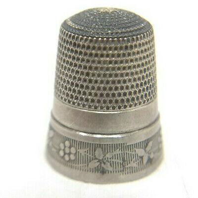 Antique Sterling Silver Simons Bros. Flower Chain Thimble; Size 10