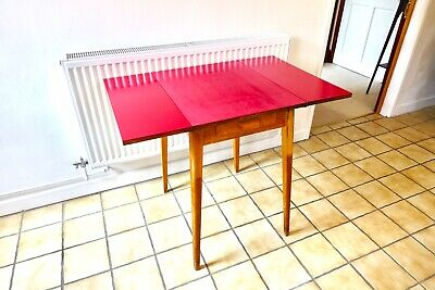 Deep Pink Mid Century Drop Leaf Table GDR Formica Retro Vintage Foldable Wood